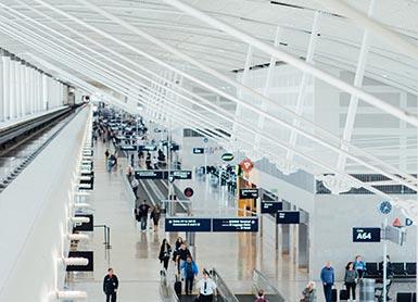 Passengers walking at an airport